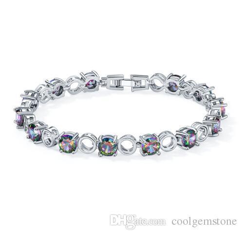 Luckyshine Round Fire Mystic Topaz Vintage 925 Sterling Silver Plated Chain Bracelets Russia Australia USA Bangles Bracelets Jewelry