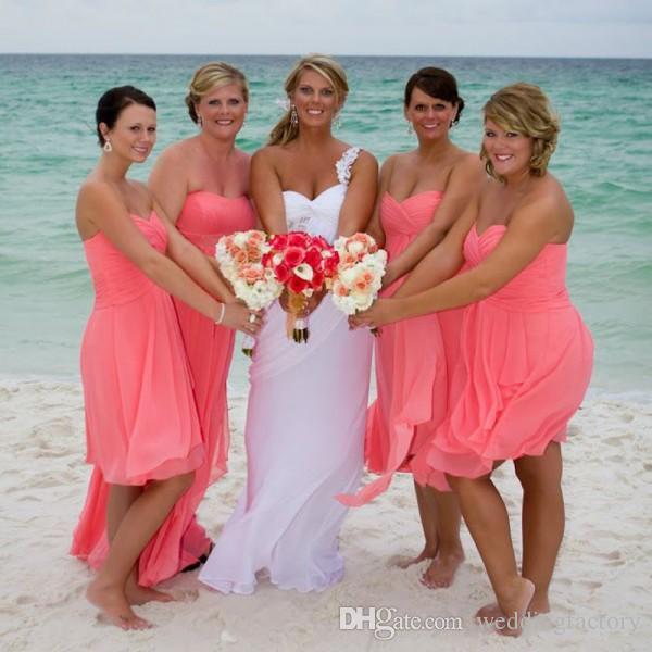 Summer Elegant Beach Bridesmaid Dresses Hot Pink Short Bridesmaids Gowns Chiffon Sweetheart Maid of Honor Wedding Party Dress Coral
