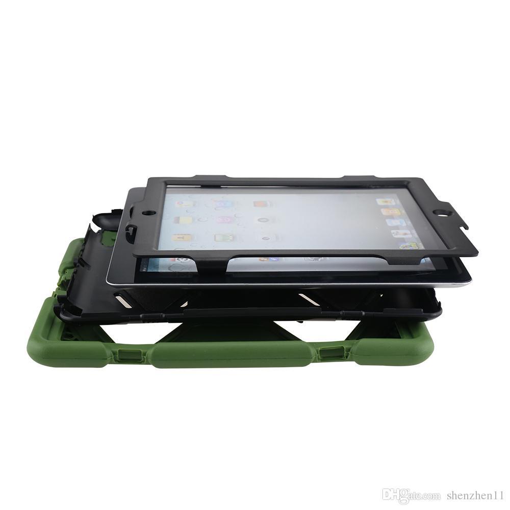 Apple PC Heavy Duty soporte caso militar con protector de pantalla para ipad 2 3 4 5 ipad aire defensor caso a prueba de agua PCC001