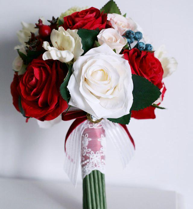 Silk Flower Long Wedding Bouquet Red White Event