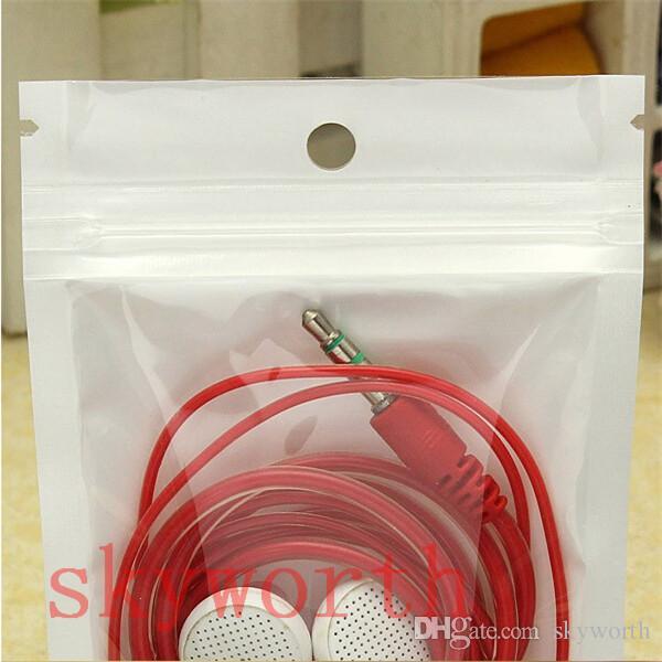 Clear + White Pearl Poly OPP Embalaje Zipper Zip Block Paquetes al por menor bolsa de PVC para el caso para el iPhone 6 6s más Samsung Galaxy