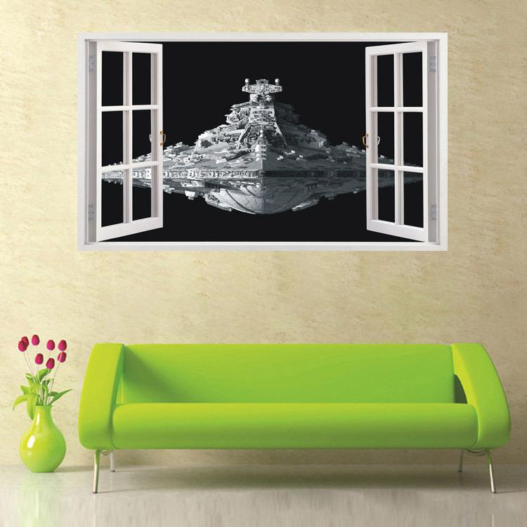 New Star Wars 3d Spacecraft Wall Stickers Home Decor Living Room Space Diy  Mural Art Decals 60*100 Removable Wall Sticker Waterproof Home Sticker Home  Wall ... Part 18