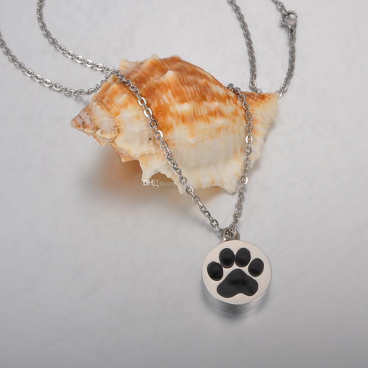 Lily Edelstahl Schwarzer Kleber Pet Dog Paw Runde Feuerbestattung Schmuck Asche Anhänger Andenken Memorial Urn Halskette mit Geschenktüte und Kette