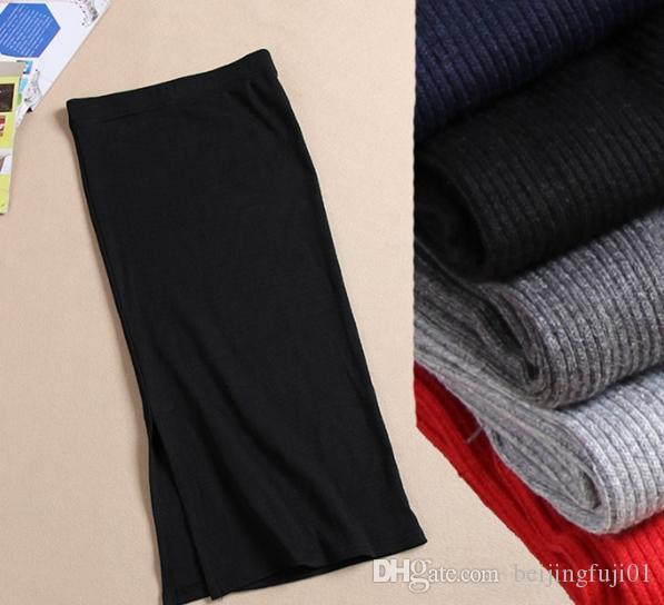 Inverno in Europa e negli Stati Uniti la sezione della lana in vita gonna pacchetto costola costola maglia gonna spaccata dell'anca