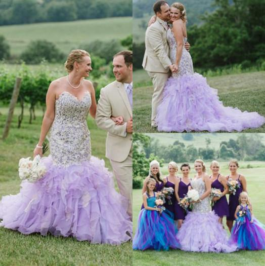 Lavender lilac mermaid wedding dresses 2015 beach garden rustic lavender lilac mermaid wedding dresses 2015 beach garden rustic unique lace appliques sweetheart neck court train ruffle color bridal gowns different junglespirit Choice Image