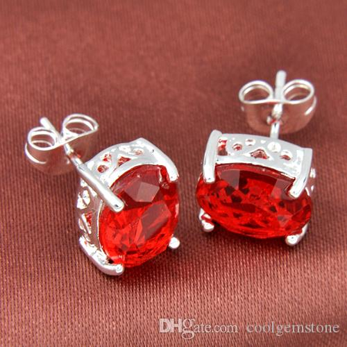 Luckyshine Superb Oval Shiny Red Quartz Gems 925 Sterling Silver Plated Stud Earrings Russia Canada Stud Earrings Jewelry E0112