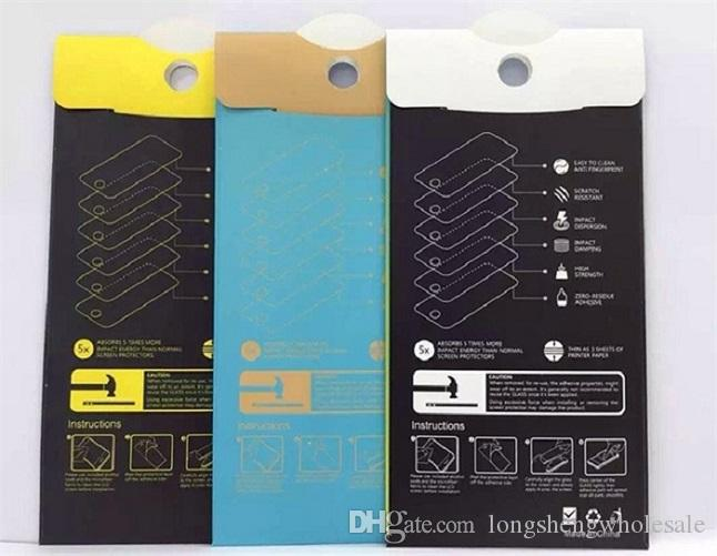 Boîtiers de papier noir de détail vide chaque casquette bon marché Emballage de la boîte à écran de Premium Glass 9H Sony iphone Samsung