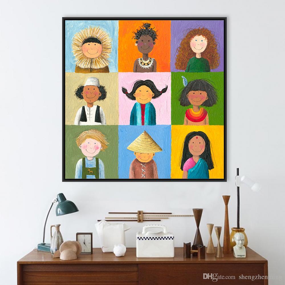 Grosshandel Moderne Welt Kinder Print Poster Farbe Chinesische Indien