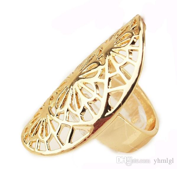 18K Gold Plated Hollow Out Oval Size 10.0 Fashion Wedding Rings Women/Men Birthday /Party Gifts Wholesale