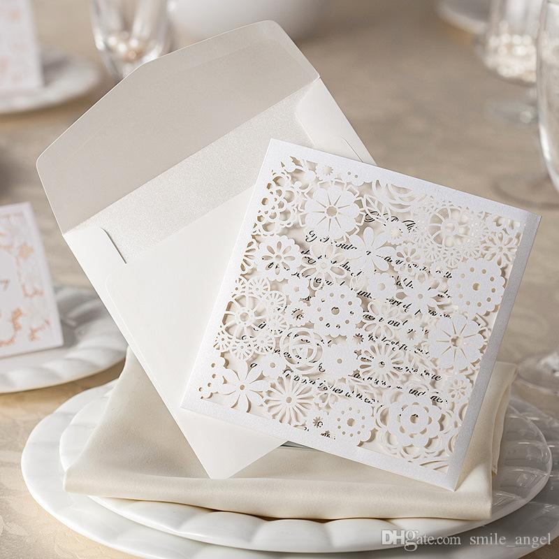 2017 New Wedding Invitations Card White Lace Flora Laser Cut Party ...