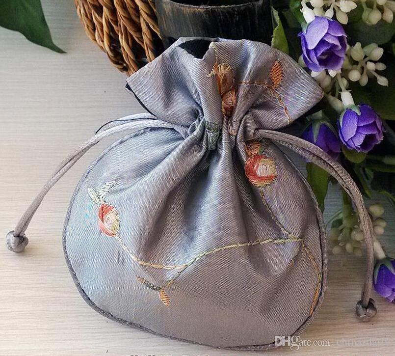 Nave libera a mano di alta qualità 11 * 13cm Ricama Brocade Brocart sacchetto di gioielli sacchetti di caramelle Beads cerimonia nuziale del sacchetto del regalo del partito
