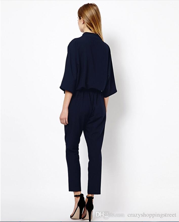 Pantalones de mono de manga tres cuartos con cuello en V de moda Mamelucos Europa y América Nuevos ZA Basic vestidos negro azul marino vestidos formales