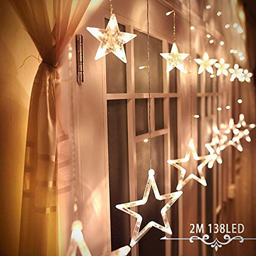 wholesale 2m christmas lights ac110v 220v romantic fairy star led curtain string lighting for holiday wedding garland party new year decor buy string lights