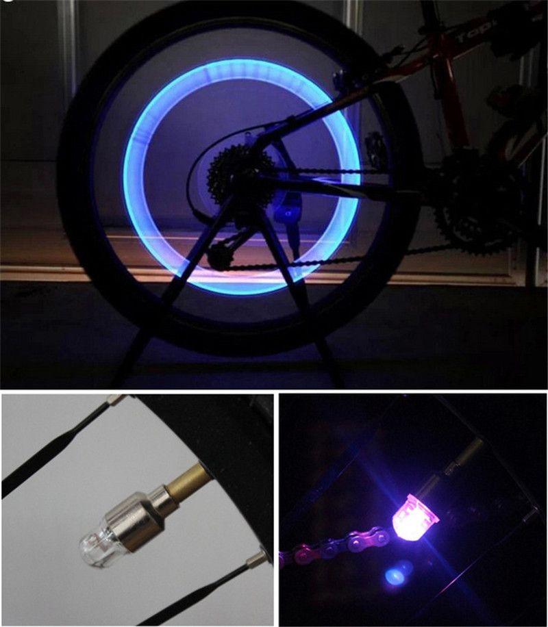 Yanıp sönen LED Lastik Işık Bisiklet Bisiklet Motosiklet DRL Araba LED Tekerlek Işık El Feneri Lastik Lastik Vana Lambası Gündüz Çalışan Işık Renkli / mavi