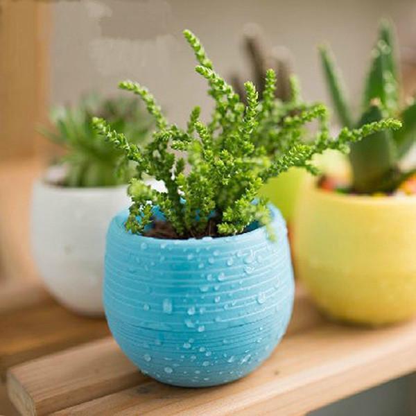 Mini Colourful 10pcs 7*6.5CM Cute Round Home Garden Office Decor Planter Plastic Plant Flower Pots Garden Supplies Free Shipping
