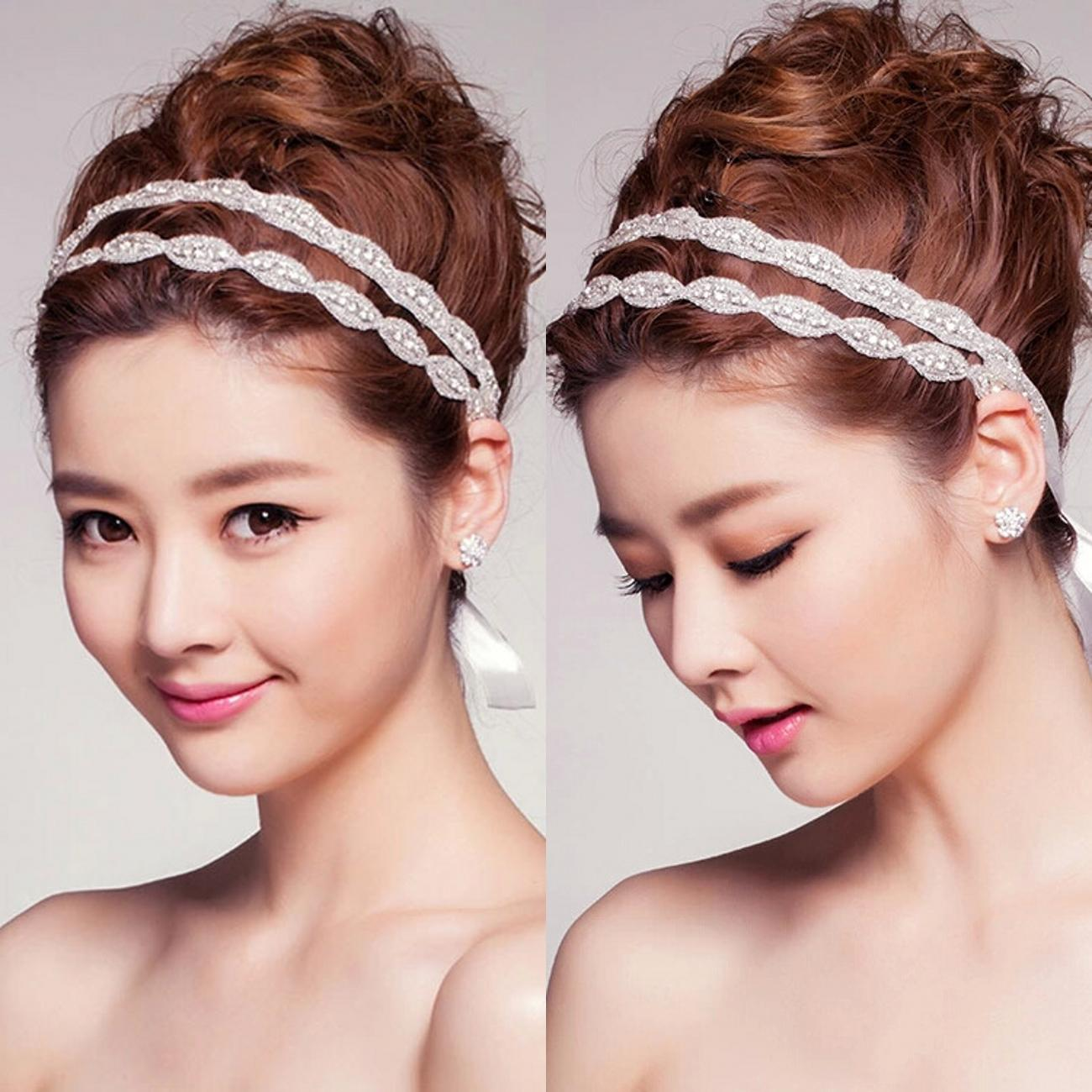 2015 vintage headbands double bar diamond hair bands for bridal