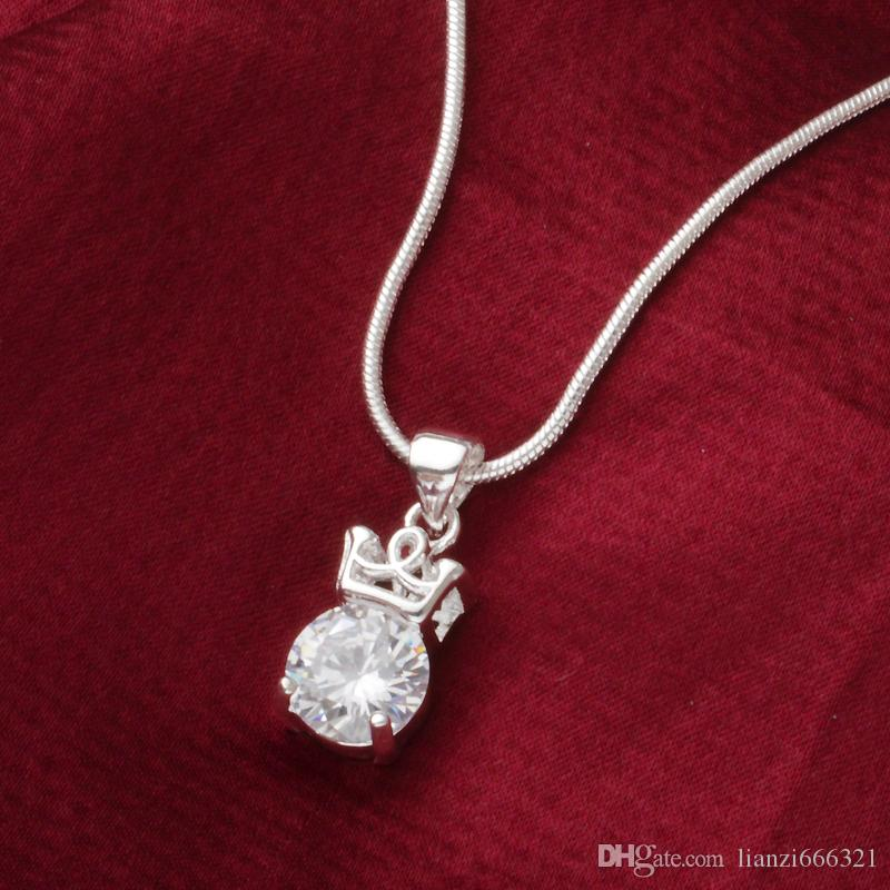 fashion high quality 925 silver Crystal Crown diamond jewelry 925 silver necklace Valentine's Day holiday gifts hot 1640