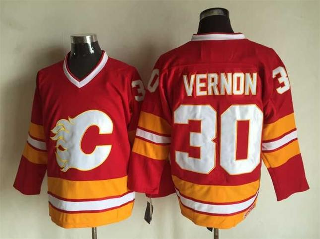 0af7166df79 Men Calgary Flames Ice Hockey Jerseys Cheap 30 Mike Vernon Red White Retro  Vintage CCM Stitched Jerseys ! From Qqq8