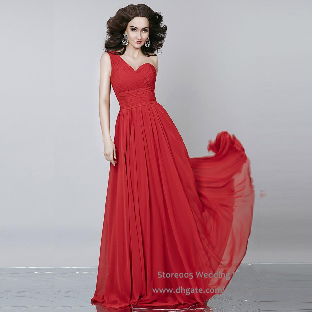 New year red orange bridesmaids dress full length one shoulder new year red orange bridesmaids dress full length one shoulder pleated long 2016 flowing chiffon wedding party dress b2477 cocktail bridesmaid dresses funky ombrellifo Images