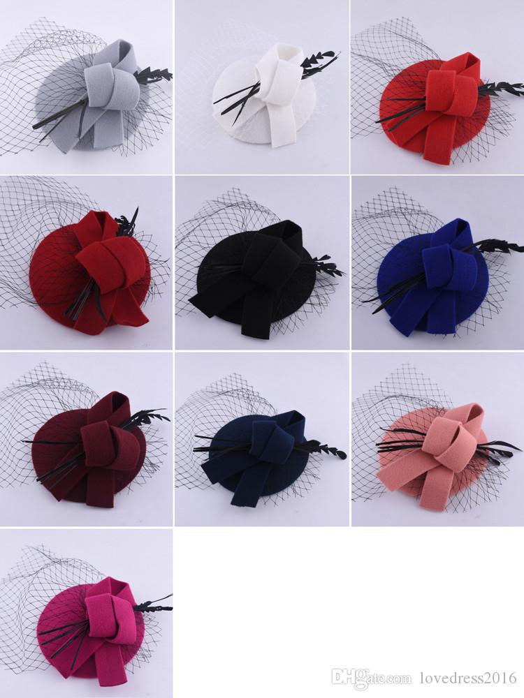 Hot Sale Bridal Hair Accessories Black Tulle Pearl Bow Party Banquet Formal Hats For Women Wedding Headpieces