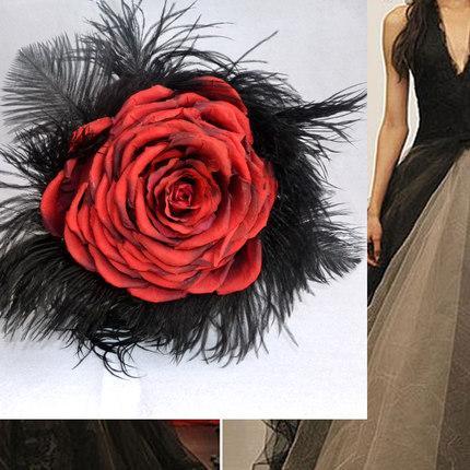 Red Rose Black Feather Wedding Bouquets Silk Flower