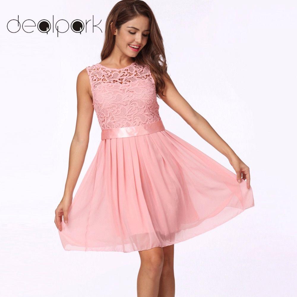 Hot Summer Lace Dress Women Chiffon Dress Sleeveless O Neck Solid