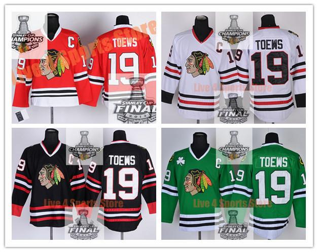 new product 844bd e8898 19 Jonathan Toews Jersey Red Chicago Blackhawks Jersey Black 100%  Embroidery 2014 Jonathan Toews Green Jersey Stitched White