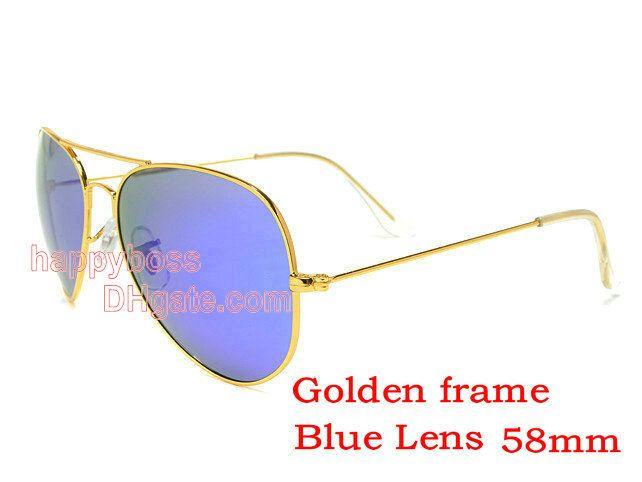 8f7684bf24a Men Women Designer Sun Glasses Outdoor Sports Cycling Sunglasses 58mm Glass  Lenses Golden Frame Blue Flash Lenses Exceptional Quality Suncloud  Sunglasses ...