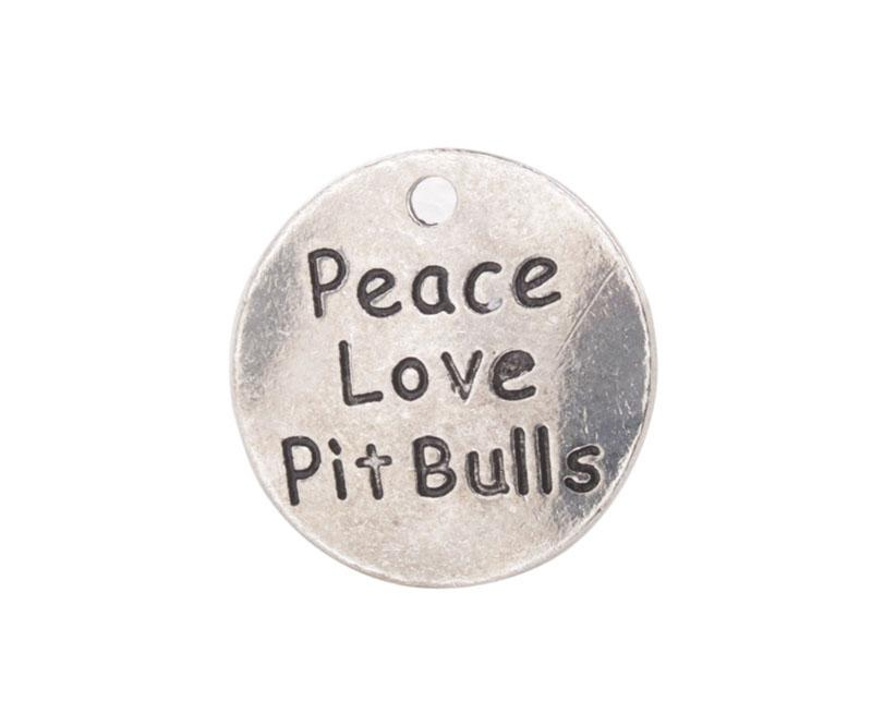 Fashion Antiqued Silver Peace Love Pit Bulls Round Charms #92289