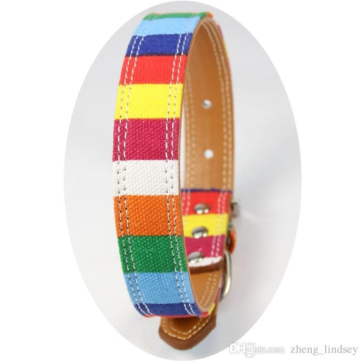 Regenbogen Leder Hundehalsband verstellbare Streifen Halsbänder für kleine Katzen Welpen und große Hunde 5 Größen