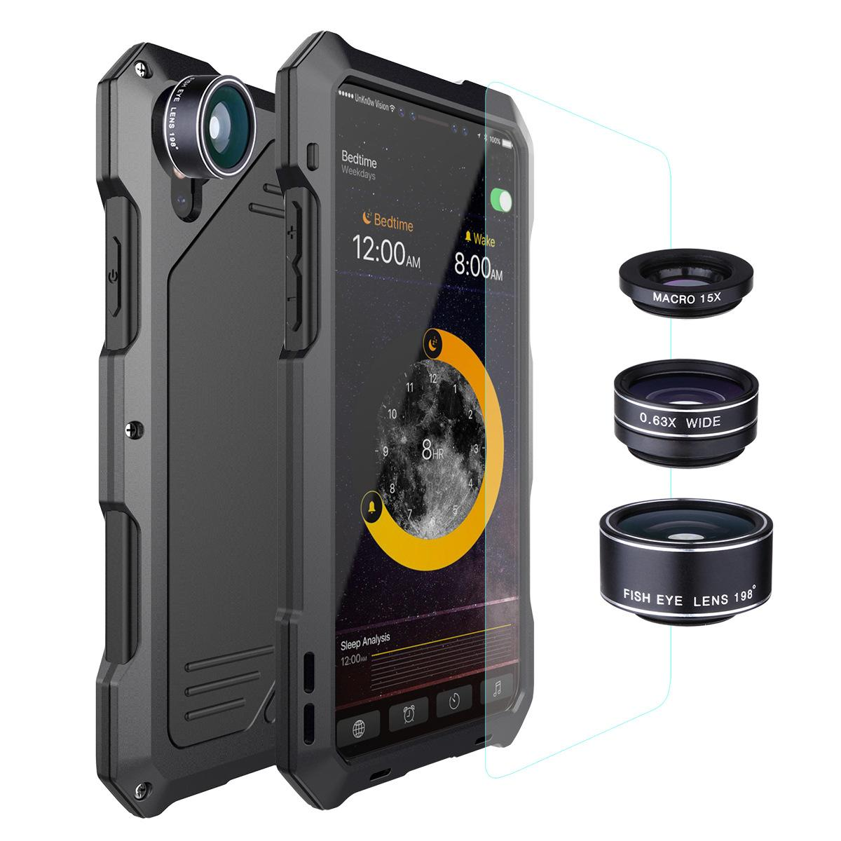 Luxury Dirt Shock Waterproof Metal Aluminum Phone Case For iphone X fisheye/wide-angle/micro lens Tempered glass