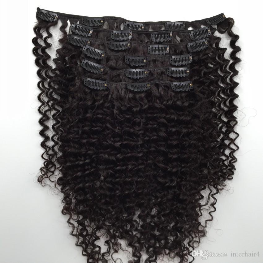 Grampo Encaracolado Kinky Brasileiro Do Cabelo Virgem Em Extensões Do Cabelo Humano para Cabeça Cheia Set 120g 7 pçs / set para os afro-americanos mulheres