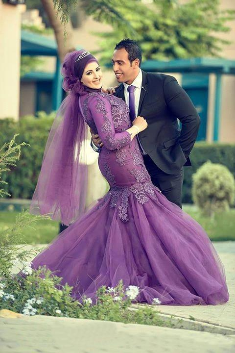 Light Purple Formal Dresses Evening Lace Applique Beaded Sequins Muslim Long Dress Jewel Floor Length Mermaid Long Sleeve Evening Dresses
