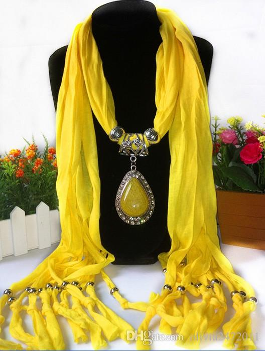 Scarf Jewelry with Gemstone Resin Waterdrop Pendant Scarves Tassel Alloy Jewelry scarf Jewellery Fashion Charms Necklace Mix Color LD