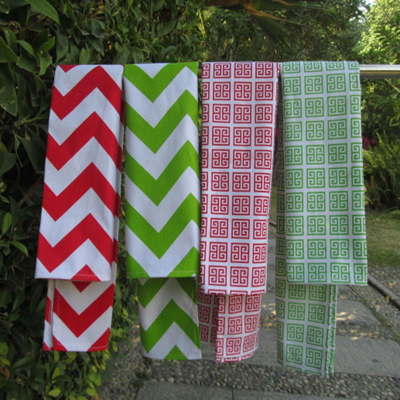 Wholesale Blanks Cotton Kitchen Towel Chevron Printed And
