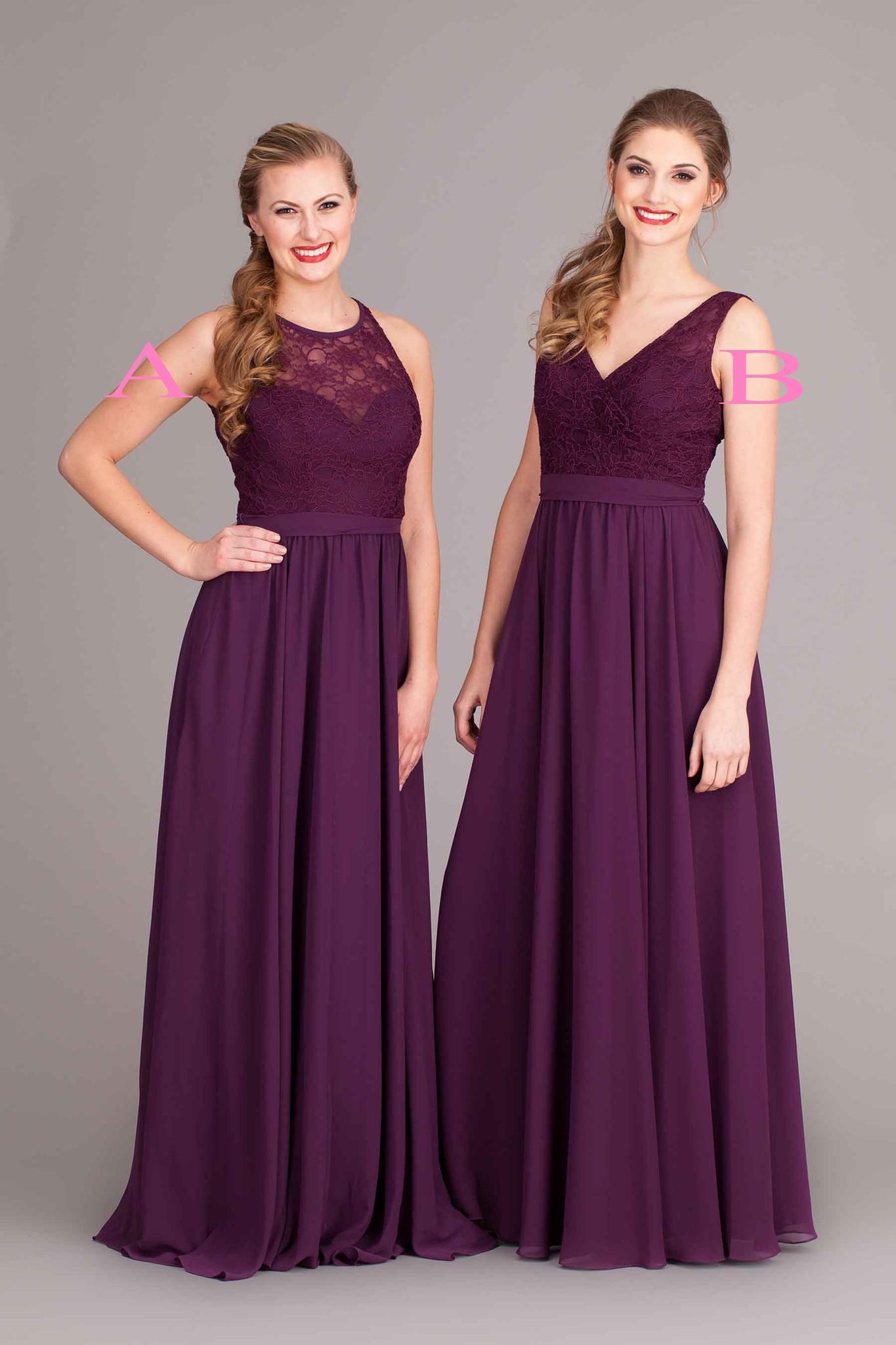 Compre 2017 Berenjena Púrpura Dama De Honor Vestidos De Encaje Y ...