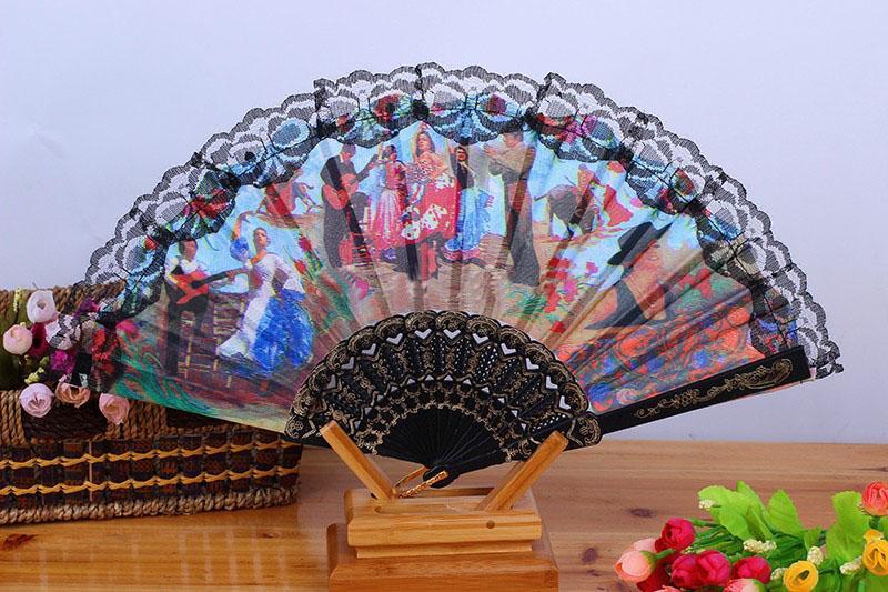 Stof Spaanse stijl karakter landschap fan patroon dansende partij vouwen hand fan maat 9