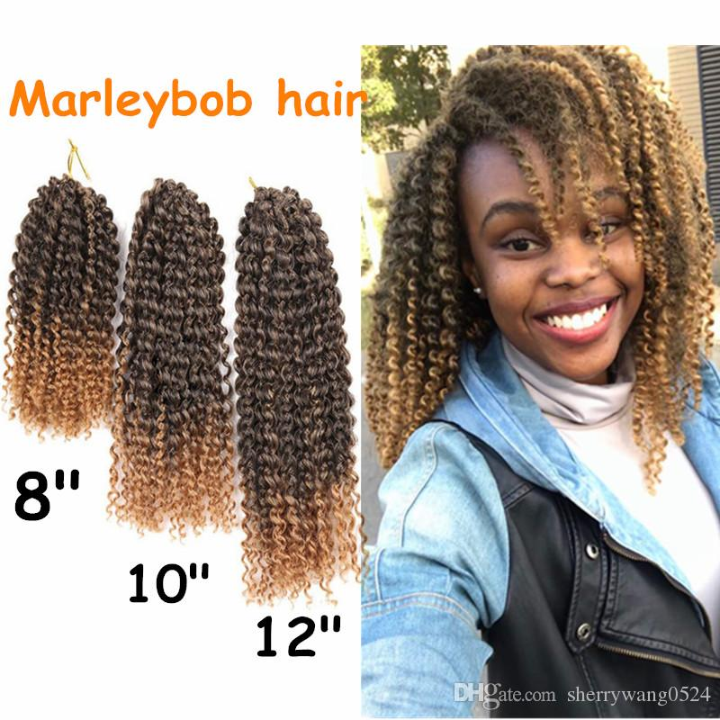 """Mali Bob 8''10''12"""" 60Roots/pack Synthetic Jerry Curly Crochet Braid Hair Extensions Ombre Kanekalon Bohemian Curl Marley braids Afro Twist"""