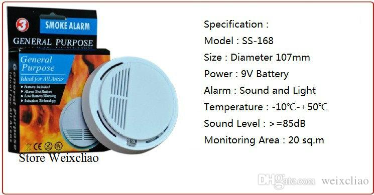 1 With 9V Battery Option General Purpose Smoke Alarm Wireless Detector Fire Sensor Monitor Cordless for All Areas