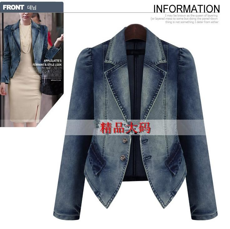 2016 Fashion New Women Clothes European and American Slim Plus size 5XL Women Denim Jackets Coats Spring Autumn Jeans Jacket Coat for Womens
