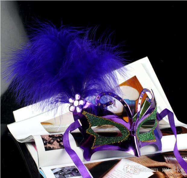 2016 maschere del partito della piuma del PVC delle feste maschere veneziane del puntello ragazze maschere di masquerade di Halloween le maschere facciali di attività del partito degli amici