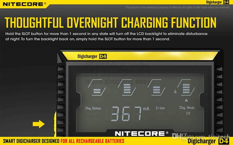 Nitecore I2 I4 D2 D4 Digi Charger Universal Intellicharger LCD Display E Cigarettes Charger for 18650 18350 18500 14500 Li-on Battery