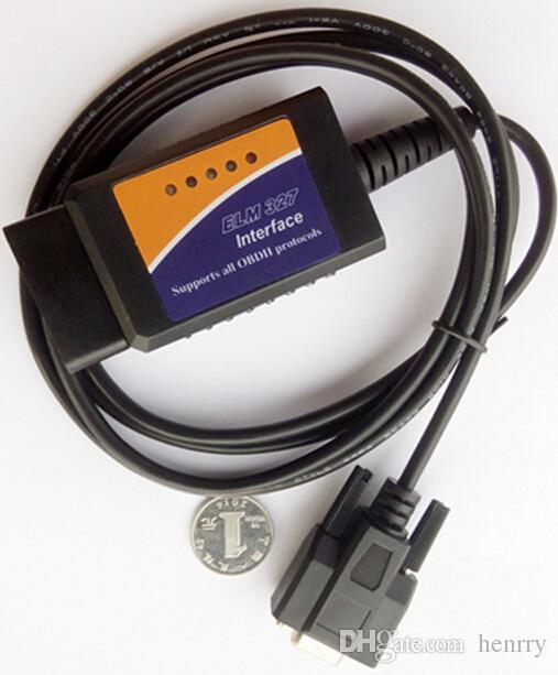 ELM 327 COM Porta OBD2 Scanner ELM 327 Leitor de Código RS232 ELM327 OBD II Ferramenta de Diagnóstico