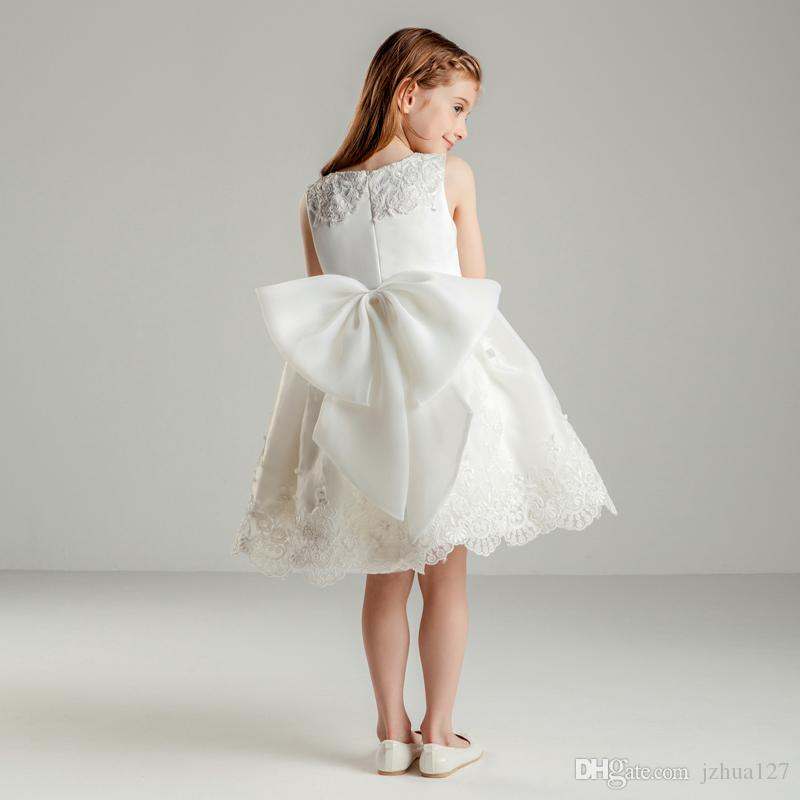 Flower Girl Dresses Real Photo Applique in pizzo Brithday Dress Bow per abiti da ballo per feste per bambini Applique Cute Prima Comunione Custom Made BB12