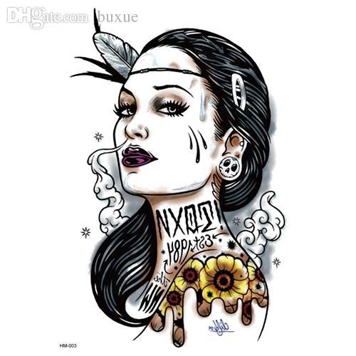 Wholesale 2015 old school series sexy woman big flower for Tatuaggi stile pin up