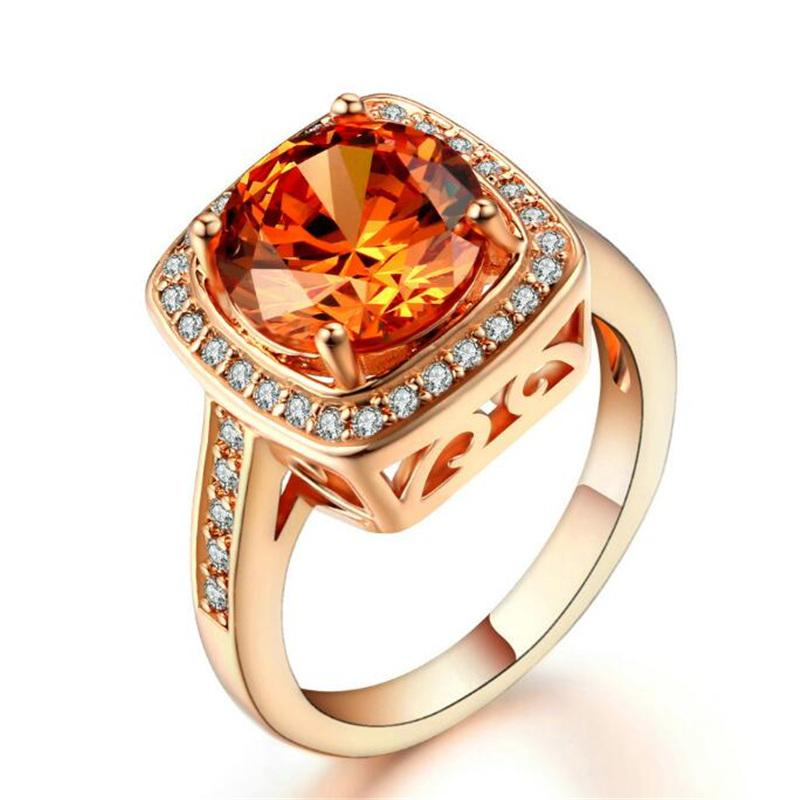 Yellow Austria Crystal Rose Gold Plated Ring Jewelry Wholesale Womens Wedding and Engagement Ring Friendship Party Gift R057