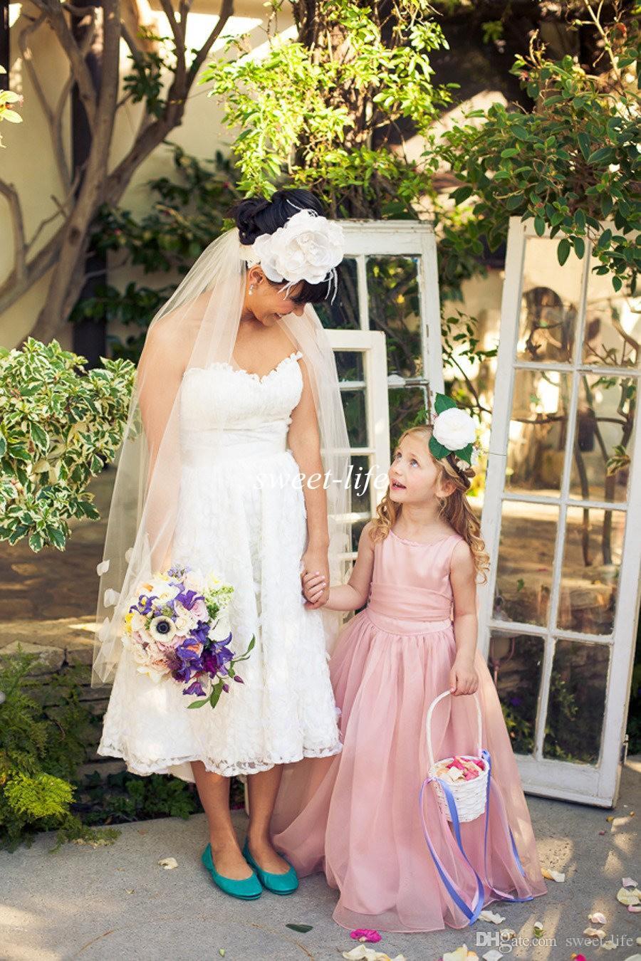 2019 Sevimli Çiçek Kız Elbise Düğün İçin Allık Organze Kanat Bow Jewel A-Line Kat Uzunluk Ucuz Çocuklar Örgün Elbise Genç Nedime Elbisesi