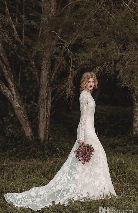 Elegante kant Boheemse lange mouwen Trouwjurken 2019 Sheer Neck Full Back Floor-Lengte A-Line Country Bridal Jurken Cheap Town