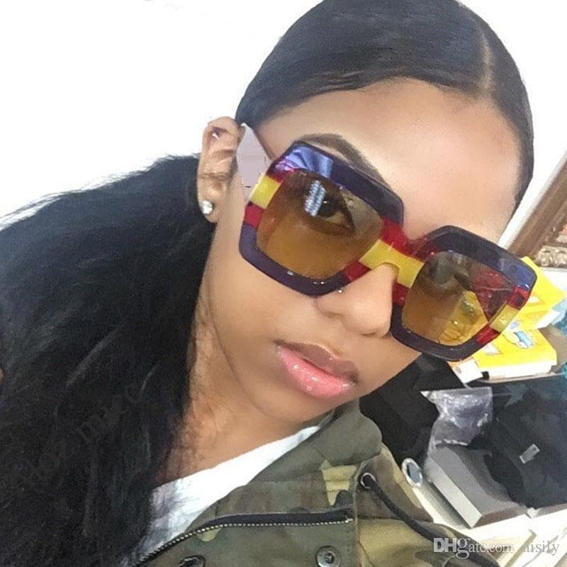 92dce4bdf5 2019 Luxury Brand Italy Oversized Square Sunglasses Women Retro Fashion  Designer Big Frame Sun Glasses Female Pink Green Oculos UV400 L153 Round  Sunglasses ...