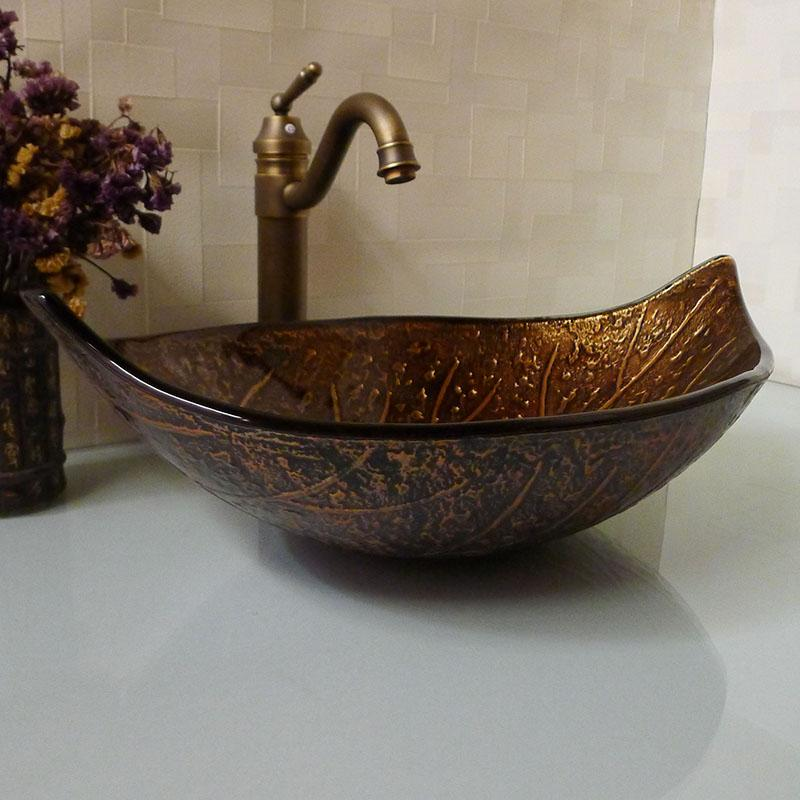 Bathroom tempered glass sink handcraft counter top leaf-shaped basin wash basins cloakroom shampoo vessel sink HX016